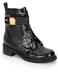 Giuseppe Zanotti Crocodile-embossed Leather Ankle Boots - Lyst