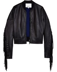 3.1 Phillip Lim Fringed Bomber Jacket - Lyst