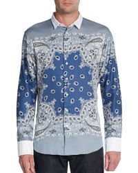 Etro Slim-fit Bandana Print Cotton Sportshirt - Lyst