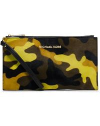 Michael Kors Bedford Camouflage Hair Calf Clutch - Lyst