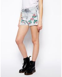Bellfield - Denim Shorts with Rose Embroidery - Lyst