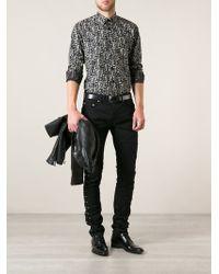 Saint Laurent Laceup Detail Skinny Jeans - Lyst