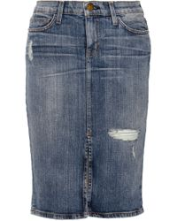 Current/Elliott The High Waist Distressed Stretch-Denim Pencil Skirt - Lyst