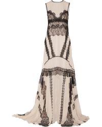 Antonio Berardi Lace-Paneled Silk-Chiffon Gown - Lyst