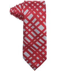 Burberry London Military Red And Grey Nova Check Print Silk 'Rohan' Tie - Lyst