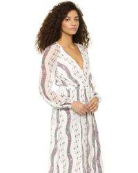 Marchesa Voyage Maxi Wrap Dress White Stripe - Lyst