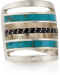 Pamela Love Silver Turquoise-inlay Ring with Black Spinel - Lyst
