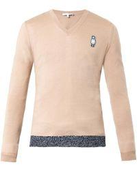 Carven Manbadge Vneck Sweater - Lyst