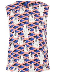 Opening Ceremony Pink Criss-cross Hands Sleeveless Crepe Top - Lyst