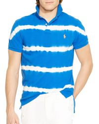 Ralph Lauren Custom Fit Tie Dyed Polo Shirt blue - Lyst