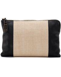 Isaac Mizrahi New York - Cybil Leather And Straw Clutch - Lyst