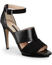 French Connection Walda Suede & Leather Platform Sandals - Lyst