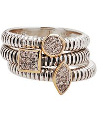 Lord & Taylor - Stackable Sterling Silver And 14k Yellow Gold Rings With Diamond Pave Centre - Lyst
