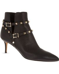 Valentino Rockstud Leather Ankle Boots - For Women, Blk/Other - Lyst