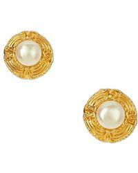 Chanel Pre-Owned Cc Gold Border Pearl Earring - Lyst