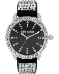 Steve Madden - Womens Crystal Accent Black Strap 42mm 02 - Lyst