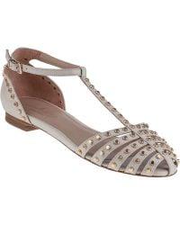 Lola Cruz T-Strap Flat Sandal Off White Leather - Lyst