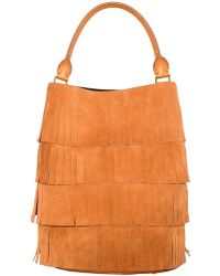 Burberry Prorsum - Fringed Suede On Leather Tote Bag - Lyst