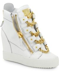 Giuseppe Zanotti Chains Leather Wedge High-Top Sneakers - Lyst
