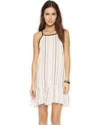 Liv - Melody Peplum Dress - Black/white Stripe - Lyst