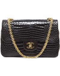 Chanel Preowned Chocolate Crocodile Vintage Small Double Flap Bag - Lyst