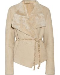 Donna Karan New York Belted Shearling Jacket - Lyst