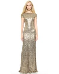 Badgley Mischka Collection Sequin Cowl Back Gown - Gold - Lyst