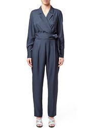 Topshop Unique - 'coterill' Belted Long Sleeve Jumpsuit - Lyst
