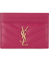 Saint Laurent Quilted Leather Card Holder - For Women - Lyst