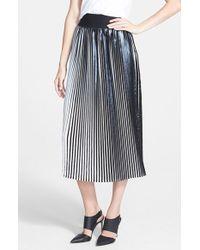 Trouvé Pleated Metallic Midi Skirt black - Lyst
