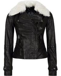 Belstaff Sloan Shearling Collar Biker Jacket - Lyst