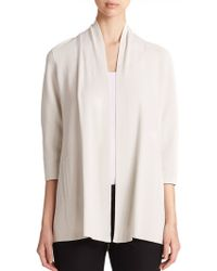 Eileen Fisher Draped Cardigan white - Lyst