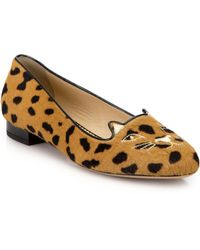 Charlotte Olympia Cat-Embroidered Leopard-Print Calf Hair Loafers animal - Lyst