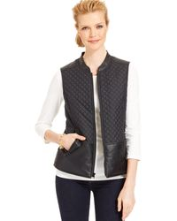 Jones New York Signature Quilted Faux Leather Panel Vest - Lyst