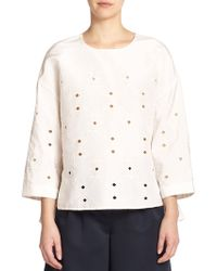 Tibi Embroidered Silk Faille Top - Lyst