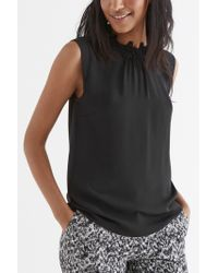 Oasis Lace Trim High Neck Top - Lyst