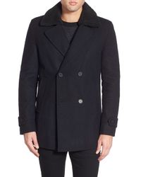 Native Youth - Wool Blend Double Breasted Peacoat With Plush Collar - Lyst