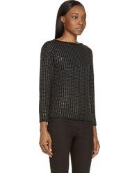 Saint Laurent Black Wool Knit Crystal Studded Sweater - Lyst