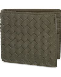 Bottega Veneta Intrecciato Leather Wallet - For Women green - Lyst
