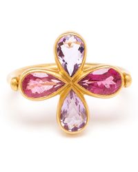 Marie-hélène De Taillac 18K Gold, Spinel And Rubellite Clover Ring - Lyst