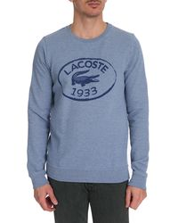 Lacoste Blue Eau Crocodile Print Crew Neck Sweater - Lyst