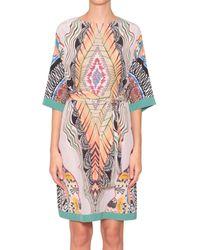 Etro Printed Silk Dress With Belt - Lyst