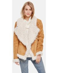 Two By Vince Camuto - Drape Front Fluffy Faux Shearling Jacket - Lyst