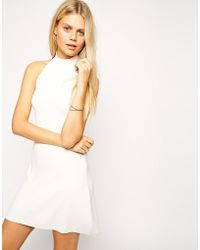 Asos Halter Dress In Structured Knit - Lyst