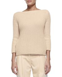 Michael Kors Shaker-knit Cashmere Boat-neck Sweater - Lyst