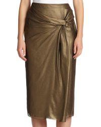 Burberry London Metallic Draped Silk Skirt - Lyst