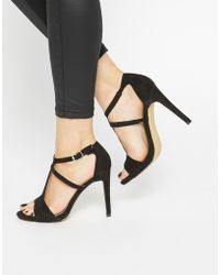 Warehouse - T Bar Heeled Sandals - Black - Lyst