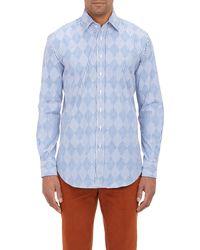 Etro Stripe-argyle Shirt - Lyst