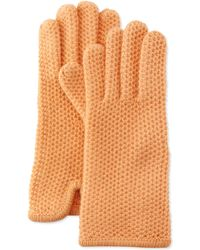 Portolano Cashmere Honeycomb-Knit Glove orange - Lyst
