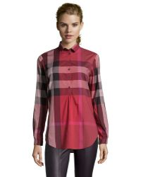 Burberry Brit Berry Red Nova Check Print Cotton Partial Button Front Tunic - Lyst